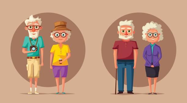 happy grandparents. vector cartoon illustration. grandparents day - old man glasses stock illustrations, clip art, cartoons, & icons