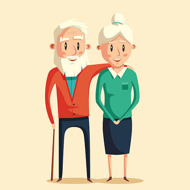 happy grandparents. vector cartoon illustration - old man smile silhouette stock illustrations