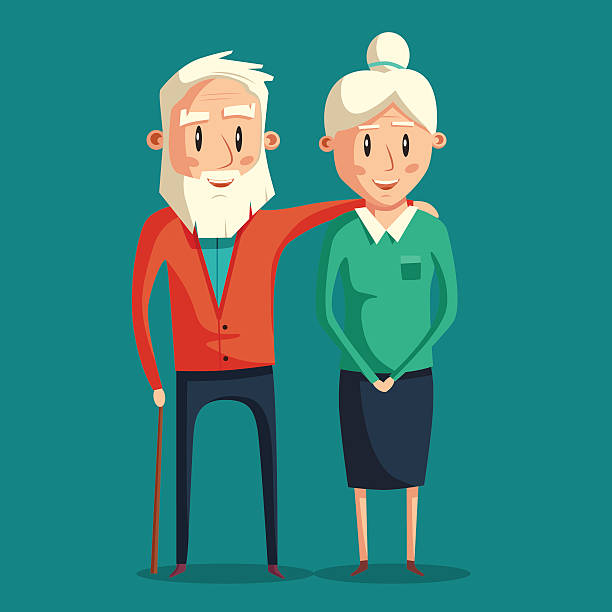 happy grandparents. vector cartoon illustration - old man hair stock illustrations, clip art, cartoons, & icons