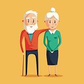 Happy grandparents. Vector cartoon illustration