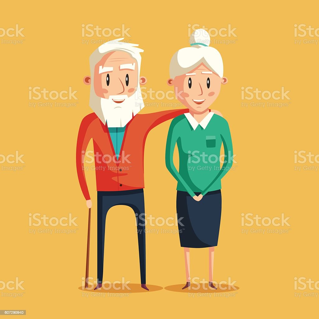 Happy grandparents. Vector cartoon illustration - ilustración de arte vectorial