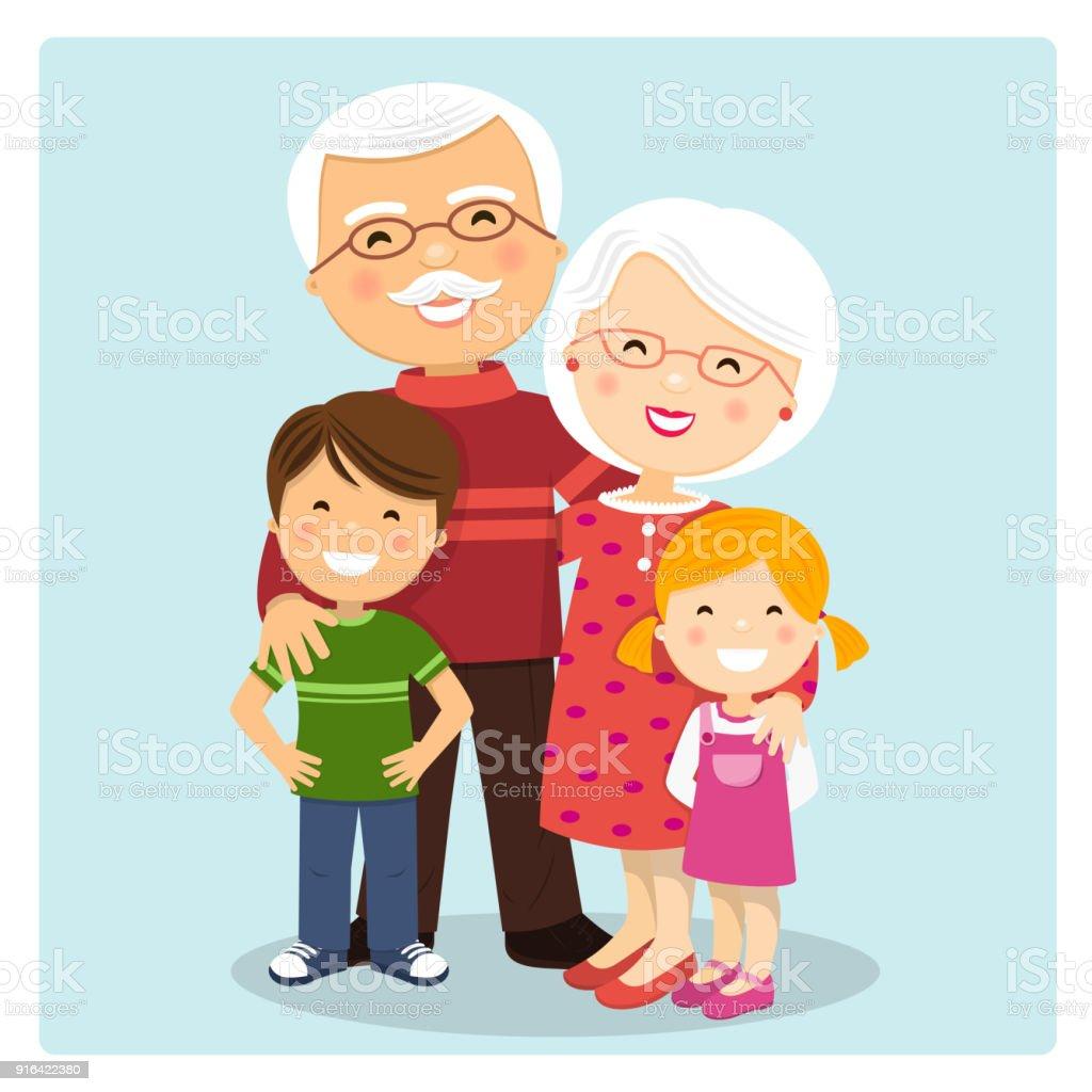青の背景に孫とおじいちゃん ベクターアートイラスト