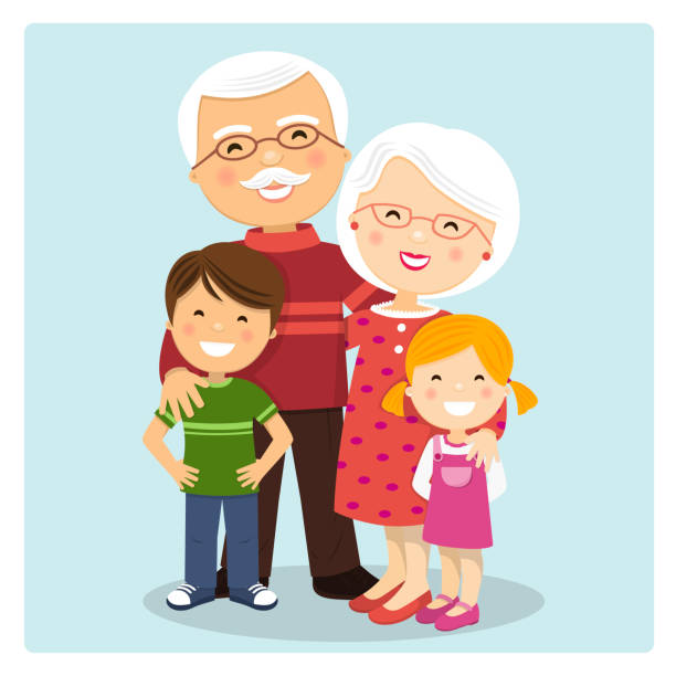 Happy grandparents with grandchildren on blue background vector art illustration