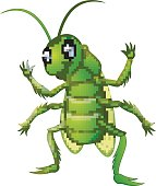 Happy grasshopper cartoon waving hand