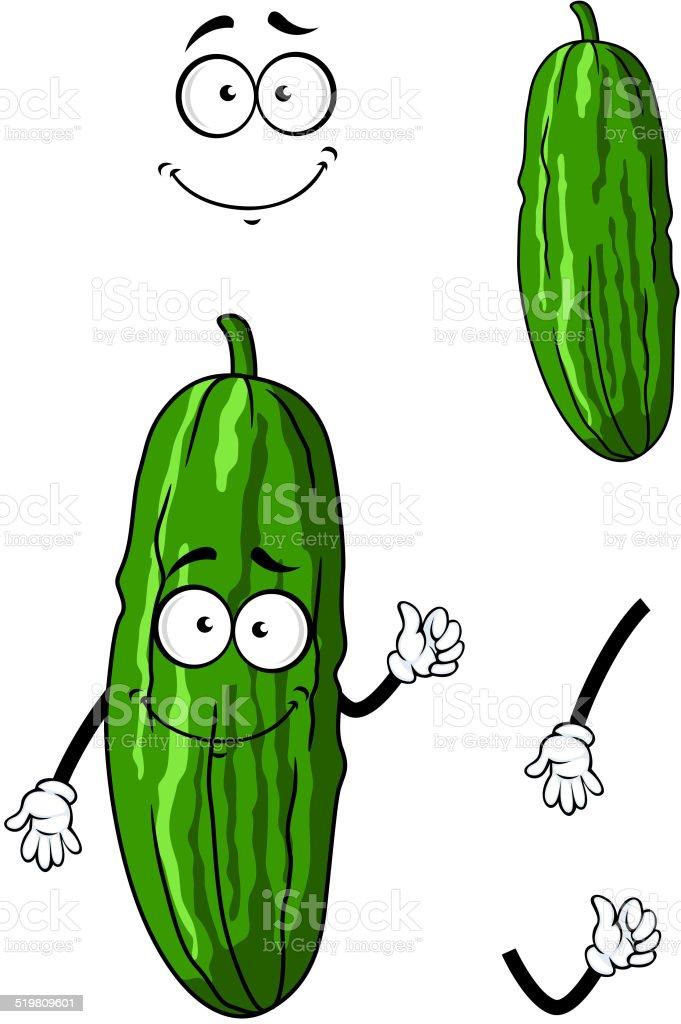 Happy green cartoon cucumber vector art illustration