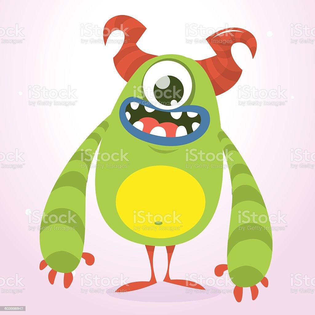 Happy green monster. Vector Halloween  monster vector art illustration