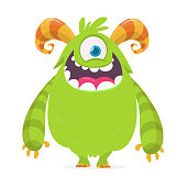 Happy green monster. Vector Halloween  monster with one eye. Vector isolated on light background