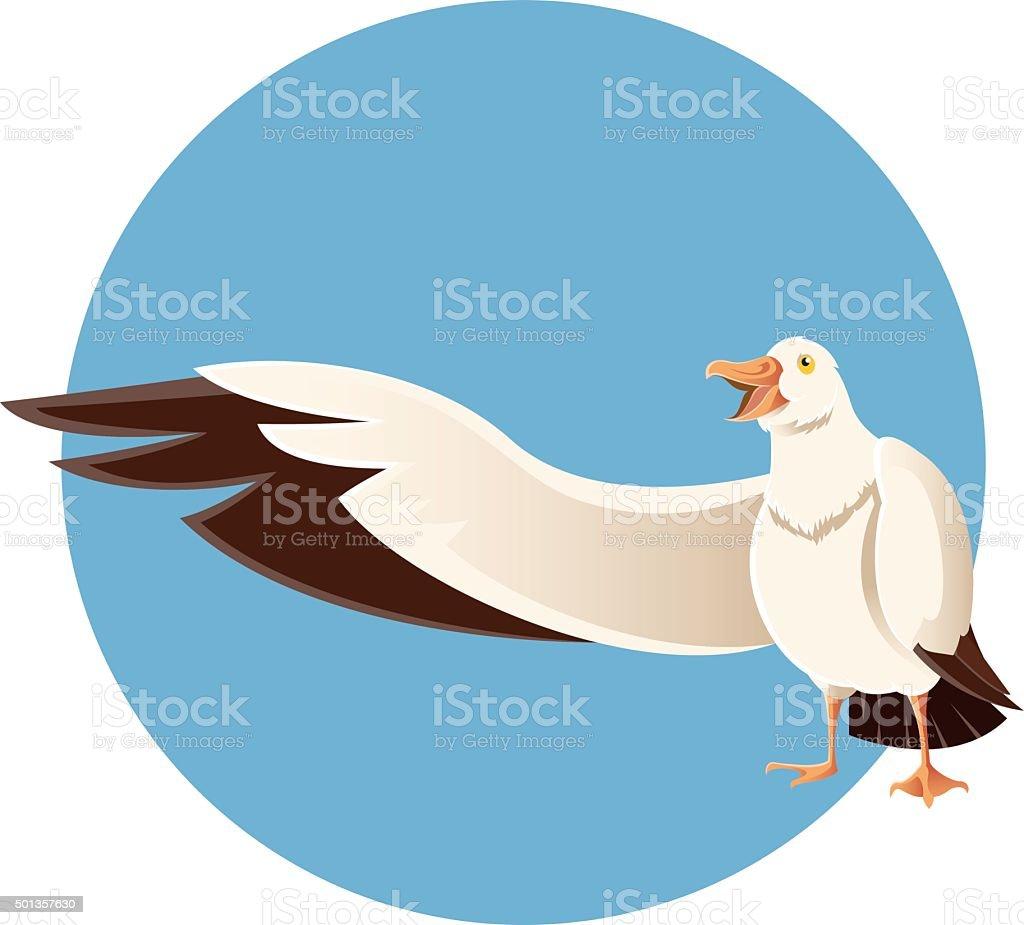 Happy greeting albatross vector art illustration