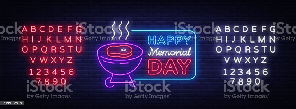 Happy greeting card for Memorial Day neon sign. Happy day of memory - barbecue grill BBQ banner in neon style, celebration of the holidays. Vector illustration. Editing text neon sign vector art illustration
