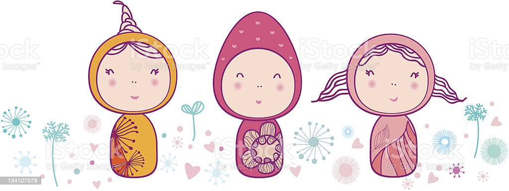 Happy greeting card with fairy girls and snow flowers. royalty-free stock vector art