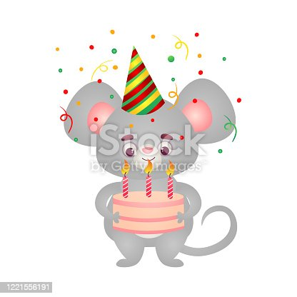 istock Happy grey mouse kid character in birthday cap standing with the birthday cake. Vector illustration in the flat cartoon style 1221556191