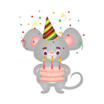 Happy grey mouse kid character in birthday cap standing with the birthday cake. Vector illustration in the flat cartoon style
