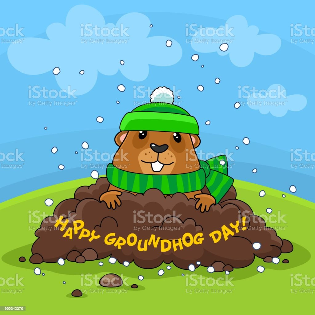 Happy Groundhog Day and Snow. royalty-free happy groundhog day and snow stock vector art & more images of animal