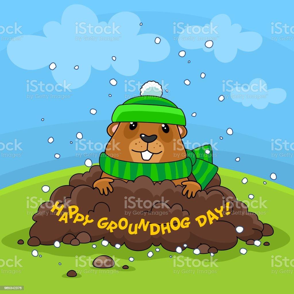快樂土撥鼠天和雪。 - 免版稅二月圖庫向量圖形
