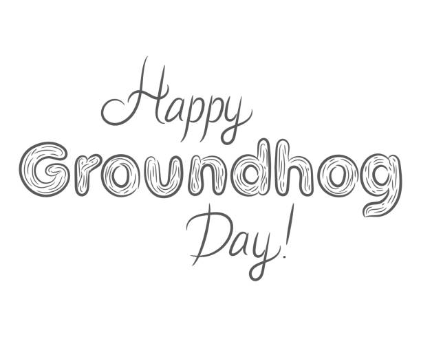 ilustraciones, imágenes clip art, dibujos animados e iconos de stock de feliz día de la marmota negro letras blancas hermosas - groundhog day