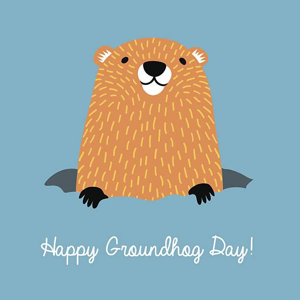 ilustraciones, imágenes clip art, dibujos animados e iconos de stock de happy groundhog day. cute groundhog coming out of his burrow. - groundhog day