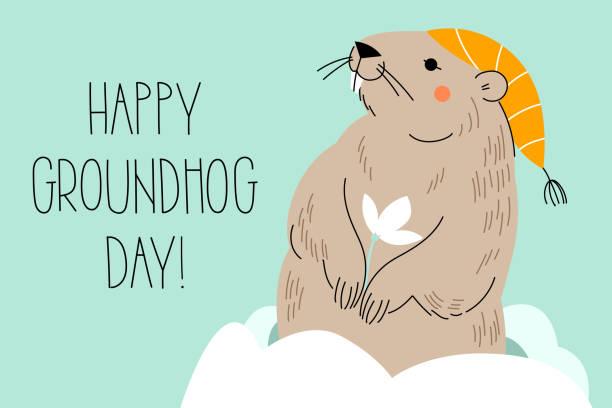 ilustraciones, imágenes clip art, dibujos animados e iconos de stock de feliz día de la marmota. diseño para tarjeta de felicitación de impresión, banner, cartel. - groundhog day