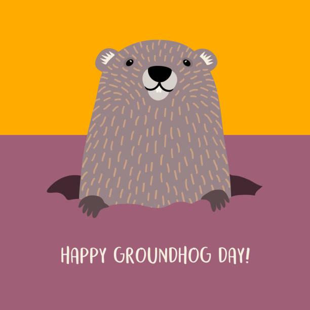 ilustraciones, imágenes clip art, dibujos animados e iconos de stock de feliz día de la marmota diseño con linda marmota de su madriguera. - groundhog day