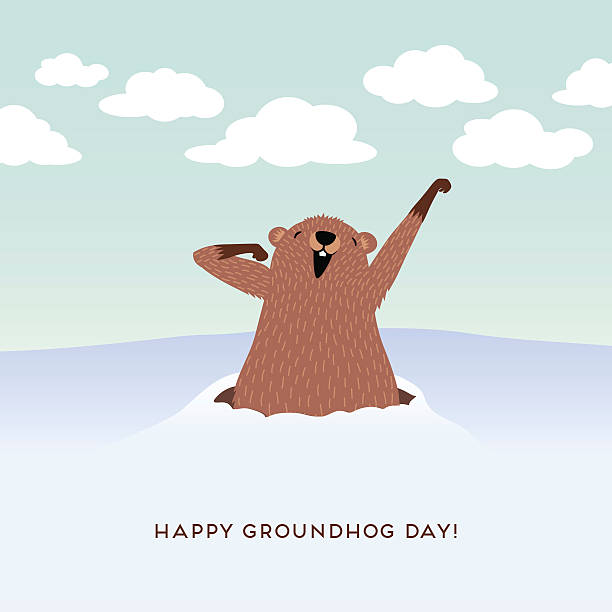 ilustraciones, imágenes clip art, dibujos animados e iconos de stock de happy groundhog day design with cute groundhog waking up. - groundhog day