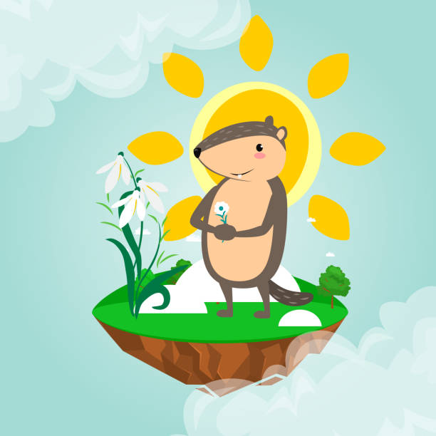 happy groundhog day design with cute marmot holds flower - white snowdrop, prediction of weather, animal climbed out of ground burrows after wintering, hog gipernation vector illustration - hibernation stock illustrations, clip art, cartoons, & icons