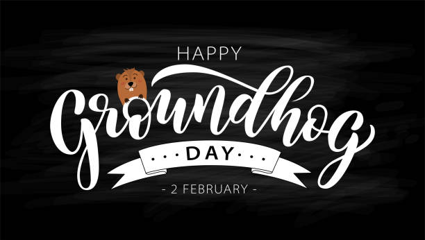 happy groundhog day. hand drawn lettering text with cute groundhog. 2 february. vector illustration. - hibernation stock illustrations, clip art, cartoons, & icons