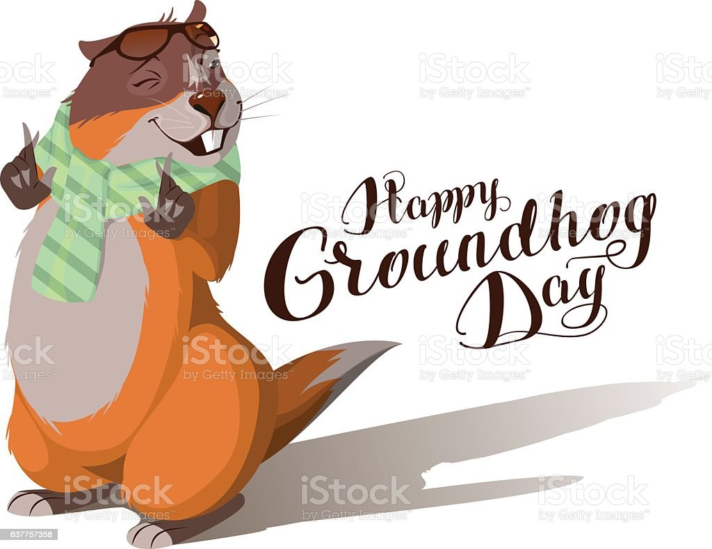 Happy Groundhog Day. Marmot casts shadow. Lettering text vector art illustration