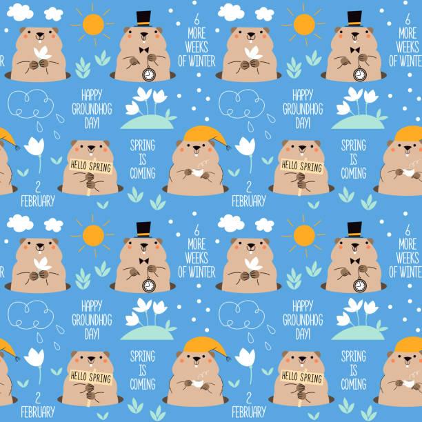 ilustraciones, imágenes clip art, dibujos animados e iconos de stock de feliz día de la marmota. patrón sin costuras con marmotas lindas. clima primaveral e invernal. diseño para tarjeta de felicitación de impresión, banner, cartel. - groundhog day