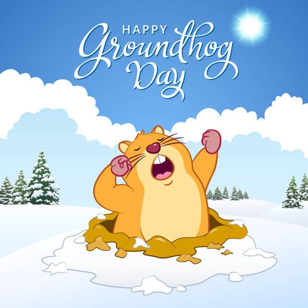 ilustraciones, imágenes clip art, dibujos animados e iconos de stock de feliz día de la marmota - groundhog day