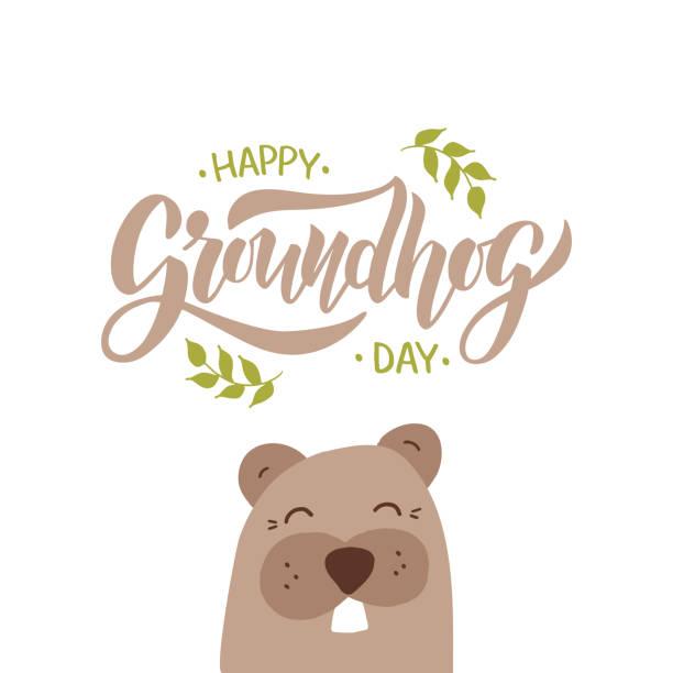 ilustraciones, imágenes clip art, dibujos animados e iconos de stock de ilustración vectorial happy groundhog day. letras dibujadas a mano con marmota. - groundhog day
