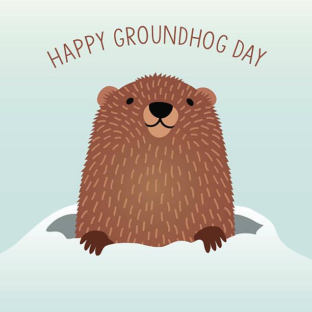 ilustraciones, imágenes clip art, dibujos animados e iconos de stock de happy groundhog day with cute groundhog emerging from his den - groundhog day