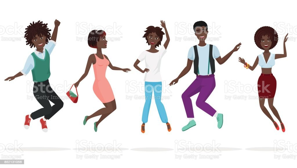 Happy Group Of African American Teamwork Friends Jumping ...