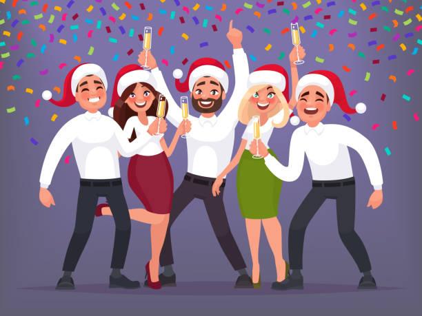 glückliche gruppe von geschäftsleuten auf ein weihnachts- und neujahrs firmenfeier. vektor-illustration - firmenweihnachtsfeier stock-grafiken, -clipart, -cartoons und -symbole