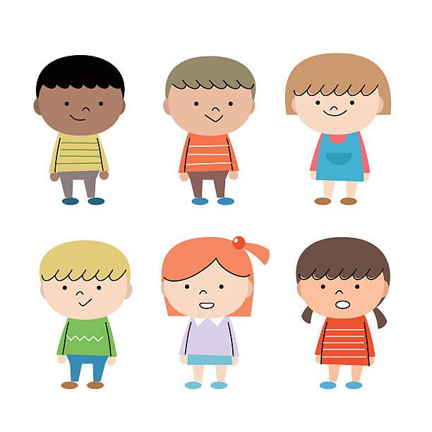 幸せなグループの多民族の子供 ベクターアートイラスト