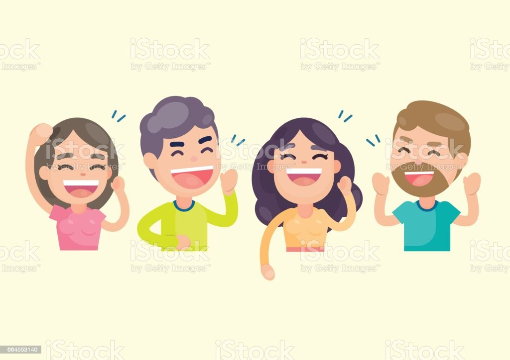 Happy group of people having fun and smiling laughing together, Vector character illustration. vector art illustration