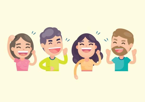 illustrazioni stock, clip art, cartoni animati e icone di tendenza di happy group of people having fun and smiling laughing together, vector character illustration. - couple portrait caucasian