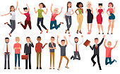 Happy group of people jumping on a white background. The concept of friendship, healthy lifestyle, success. Vector illustration in a flat style. People in different poses. Party people.