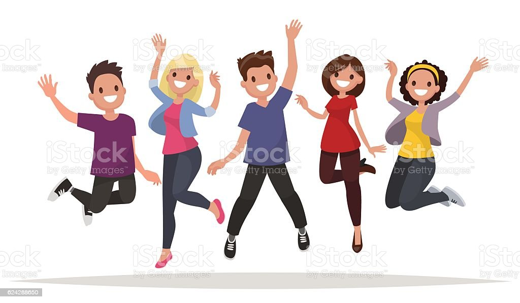 Happy group of people jumping on a white background. vector art illustration