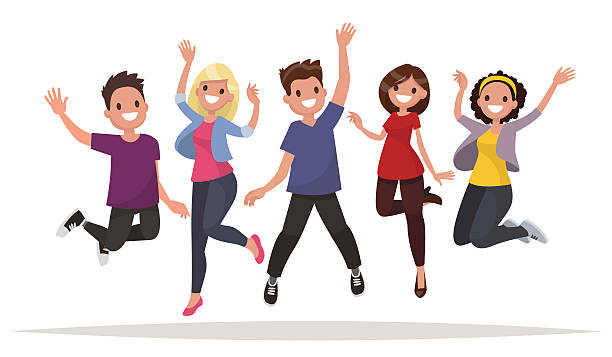 Happy group of people jumping on a white background. - Illustration vectorielle