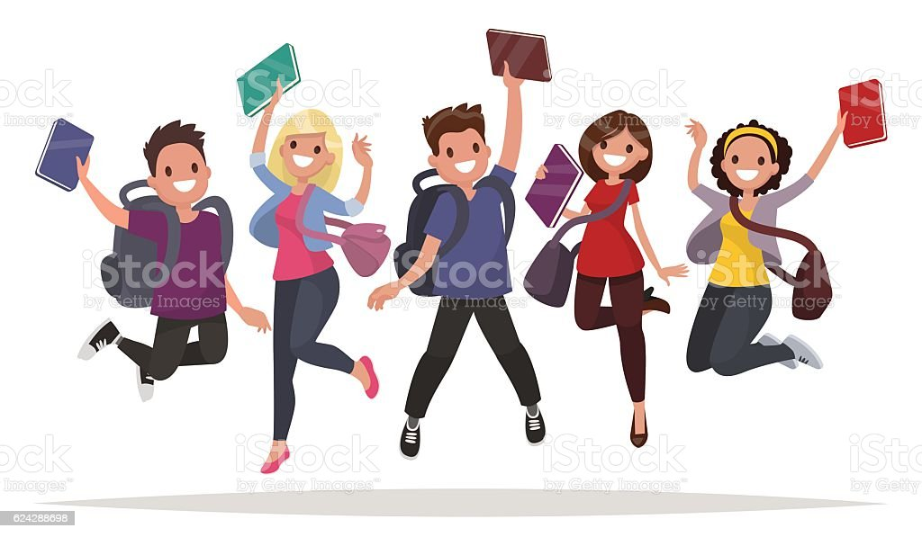 Happy group of students are jumping on a white background. - ilustración de arte vectorial
