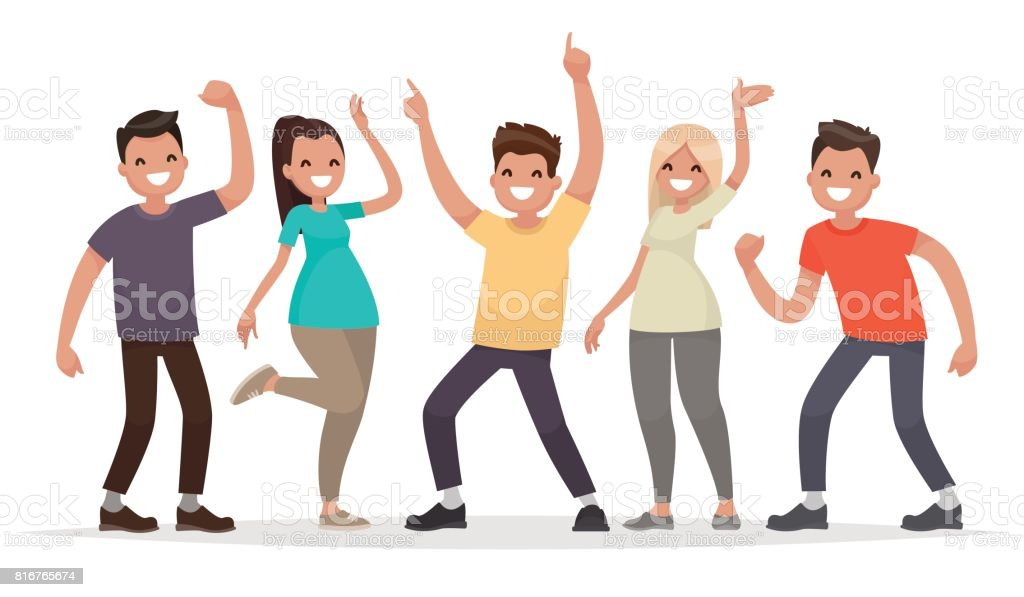 Happy group of young people. Vector illustration in a flat style vector art illustration