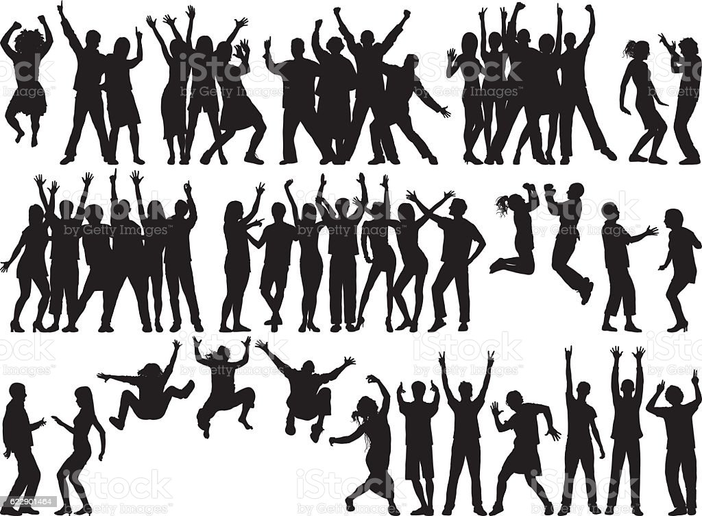Happy Groups (People are Separate, Complete, Moveable, and Detailed) vector art illustration