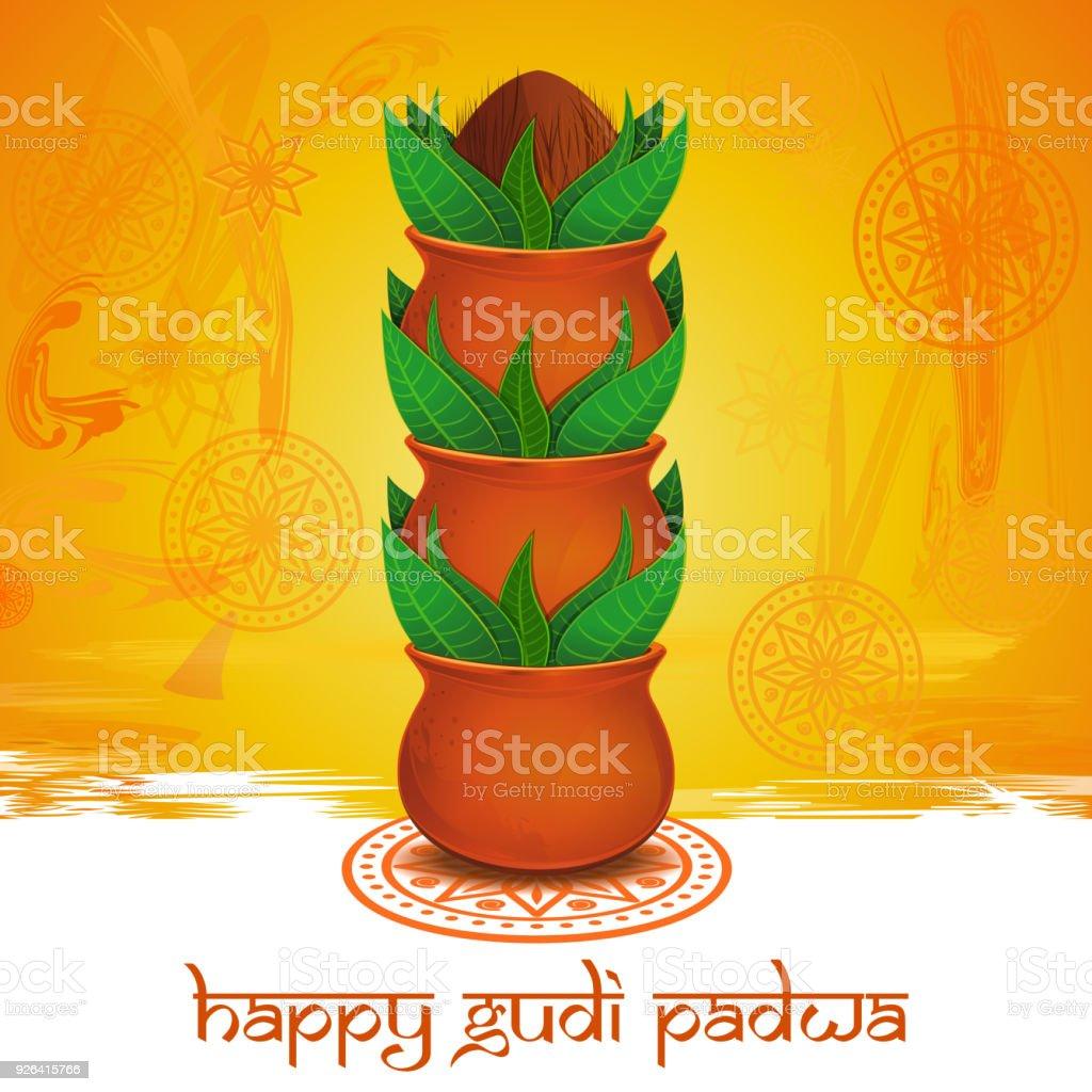 Happy Gudi Padwa Greeting Card Stock Vector Art More Images Of