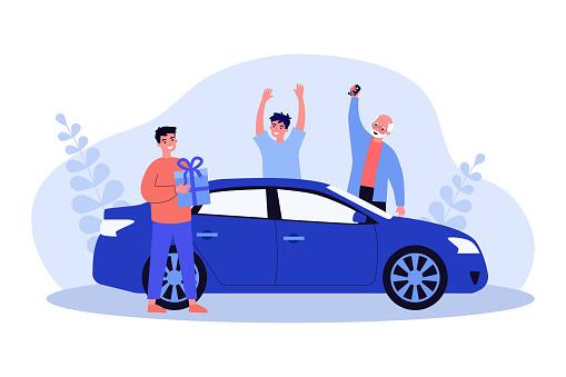 Happy guy getting car as birthday present