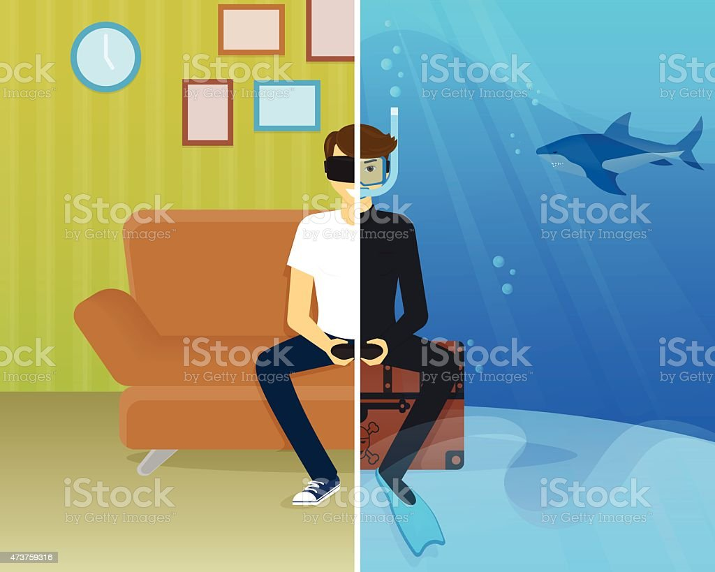Happy guy is doing scuba diving in virtual reality vector art illustration