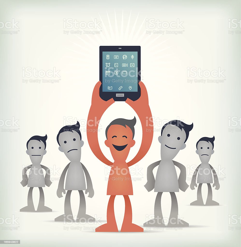 Happy guy with Tablet pc royalty-free stock vector art