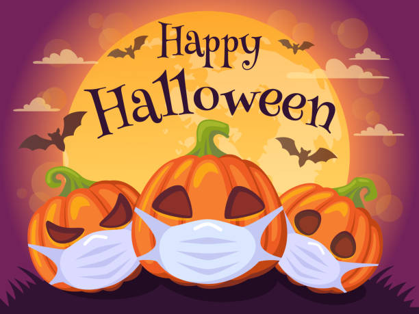 Happy Halloween 2020. Banner with pumpkins in medical mask, bat and moon. Stop Coronavirus. Covid-19. Stop the global pandemic vector illustration halloween covid stock illustrations