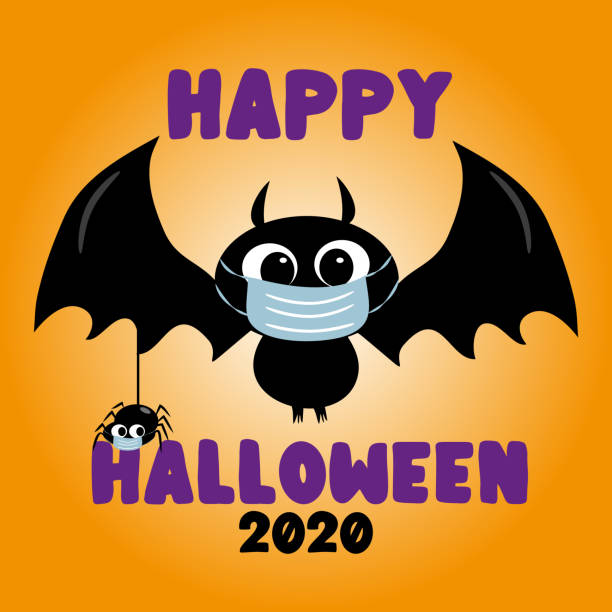 Happy Halloween 2020- cute bat and spider in facemask. Funny greeting card for Halloween in covid-19 pandemic self isolated period. Happy Halloween 2020- cute bat and spider in facemask. Funny greeting card for Halloween in covid-19 pandemic self isolated period. halloween covid stock illustrations