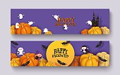 Happy Halloween 3d papercut design. Pumpkin, witch, castle, vampire, bat, mummy, ghoul, moon. Purple and orange horizontal festive background, banner with place for text. Set vector illustration