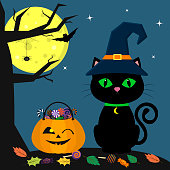 Happy Halloween. A Halloween cat in a witch hat sits next to a pumpkin filled with sweets. A tree, a spider, a full moon at night. Flying vampires and stars.