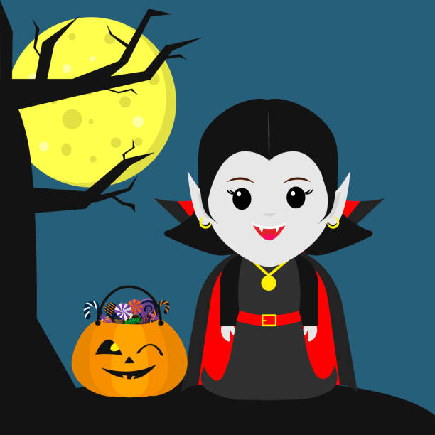happy halloween. a vampire girl in the style of a cartoon stands next to a tree. halloween pumpkin with sweets, full moon at night. autumn holiday. - vegetable blood stock illustrations, clip art, cartoons, & icons
